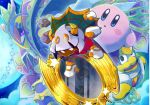 black_skin crown extra_arms fangs fur_trim heart horns king_dedede kirby kirby:_triple_deluxe kirby_(series) medium_hair mirror moon nintendo official_art open_mouth pink_skin queen_sectonia reflection scarf silver_hair star taranza