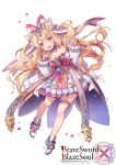 1girl :d animal_ears bangs blonde_hair blush boots bow brave_sword_x_blaze_soul cat_ears character_request copyright_name detached_sleeves dress eyebrows_visible_through_hair flower full_body hair_between_eyes hair_bow hair_flower hair_ornament hands_up head_tilt high_heel_boots high_heels long_hair long_sleeves official_art open_mouth petals pink_bow pom_pom_(clothes) puffy_long_sleeves puffy_sleeves red_footwear round_teeth simple_background sleeves_past_wrists smile socks solo strapless strapless_dress striped striped_bow teeth two_side_up upper_teeth very_long_hair violet_eyes white_background white_bow white_dress white_flower white_legwear white_sleeves yeonwa
