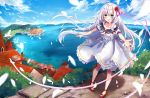 1girl :d ahoge animal_ears aqua_eyes bangs bare_shoulders bird blue_sky blurry_foreground blush braid breasts building chimney clouds cloudy_sky collarbone commentary_request day dove dress eyebrows_visible_through_hair feathers flower frilled_dress frills hair_flower hair_ornament hair_ribbon highres horizon kisaragi_yuri legs_apart long_hair looking_at_viewer mountain neck_ribbon ocean off_shoulder open_mouth original outdoors outstretched_hand pink_ribbon red_flower red_footwear red_neckwear ribbon rose scenery short_sleeves sidelocks sky small_breasts smile solo standing town very_long_hair water white_dress white_hair