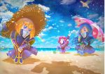 3girls beach beach_umbrella blonde_hair blue_eyes blue_hair blue_sky dragoon_(kirby) flamberge_(kirby) flying francisca_(kirby) hat heart heart_print horseshoe_crab island kirby kirby:_star_allies kirby_(series) looking_at_viewer multiple_girls nintendo ocean official_art rainbow redhead sand shadow shawl sky star straw_hat umbrella water waving zan_partizanne