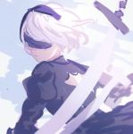 1girl back_cutout black_blindfold black_dress black_hairband blindfold closed_mouth commentary dress english_commentary hairband juliet_sleeves k_(sktchblg) long_sleeves nier_(series) nier_automata puffy_sleeves solo sword weapon white_hair yorha_no._2_type_b