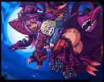 1boy 1girl :d ass blonde_hair blush claws commentary commission commissioner_insert dark_skin dragon_horns dragon_tail dragon_wings english_commentary flying full_moon glasses halloween hat head_fins horns horns_through_headwear hug hug_from_behind jabberwock_(monster_girl_encyclopedia) monster_girl monster_girl_encyclopedia moon open_mouth outdoors panties purple_hat purple_panties ramenwarwok red_eyes scar smile tail tentacle underwear wings witch witch_hat