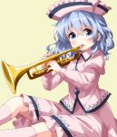 1girl blue_eyes eyebrows_visible_through_hair hair_between_eyes hat highres instrument long_sleeves looking_at_viewer merlin_prismriver open_mouth pink_hat pink_legwear pink_shirt ruu_(tksymkw) shirt short_hair silver_hair simple_background solo touhou trumpet yellow_background