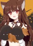 1girl :d animal_ears atobesakunolove bandage bandaged_arm bandages bangs black_choker black_neckwear black_ribbon blush brown_hair choker d.va_(overwatch) eyebrows_visible_through_hair facial_mark fang gloves halloween halloween_costume highres long_hair looking_at_viewer neck_ribbon open_mouth overwatch paw_gloves paws red_eyes ribbon ribbon_choker simple_background smile solo upper_body whisker_markings wolf_ears