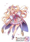 1girl :d animal_ears bangs blonde_hair blush boots bow brave_sword_x_blaze_soul cat_ears character_request commentary_request copyright_name detached_sleeves dress eyebrows_visible_through_hair full_body hair_between_eyes hair_bow hands_up head_tilt high_heel_boots high_heels long_hair long_sleeves official_art open_mouth petals pink_bow pom_pom_(clothes) puffy_long_sleeves puffy_sleeves red_footwear round_teeth simple_background sleeves_past_wrists smile socks solo strapless strapless_dress striped striped_bow teeth two_side_up upper_teeth very_long_hair violet_eyes white_background white_dress white_legwear white_sleeves yeonwa
