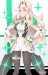 1girl absurdres alternate_costume armor bangs breasts cleavage closed_eyes cosplay earrings female_my_unit_(fire_emblem_if) fire_emblem gem gloves headpiece highres hikari_(xenoblade_2) hikari_(xenoblade_2)_(cosplay) jewelry long_hair looking_at_viewer my_unit_(fire_emblem_if) nintendo pantyhose pointy_ears red_eyes sarukaiwolf solo super_smash_bros. super_smash_bros._ultimate white_hair xenoblade xenoblade_(series) xenoblade_2