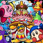 2boys ;p anniversary bandana_waddle_dee bandanna bomb cake commentary_request confetti copy_ability cowboy_hat food hat heart king_dedede kirby kirby:_battle_royale kirby_(series) meta_knight multiple_boys nintendo official_art one_eye_closed smile sparkling_eyes star tongue tongue_out wand whip