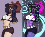 1girl akali arms_behind_head asymmetrical_clothes asymmetrical_legwear baseball_cap belt bodypaint breasts brown_hair choker covered_mouth cowboy_shot hat highres jacket k/da_(league_of_legends) k/da_akali large_breasts lavender_background lavender_eyes league_of_legends long_hair looking_at_viewer mask midriff multiple_views navel open_clothes open_jacket ponytail purple_hair simple_background single_pantsleg solo splashbrush ultraviolet_light yellow_eyes