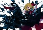 1girl blonde_hair blouse bow cravat crossover hair_bow hair_ribbon highres ikurauni long_tongue marvel necktie red_eyes ribbon rumia short_hair skirt spider-man_(series) teeth tongue touhou venom_(marvel) vest