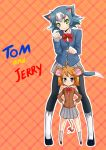 2girls :3 animal_ears black_eyes blue_hair blue_jacket bow brown_jacket cat_ears character_name commentary_request copyright_name eyebrows_visible_through_hair fingerless_gloves full_body genderswap genderswap_(mtf) gloves grey_skirt hands_on_hips head_tilt jacket jerry_(tom_and_jerry) legs_apart looking_at_viewer mouse_ears mouse_tail multiple_girls okamura_(okamura086) orange_hair outline pantyhose paw_pose personification plaid plaid_background pleated_skirt red_neckwear short_hair skirt smile smug standing tail tail_bow tom tom_and_jerry v-shaped_eyebrows white_gloves white_outline