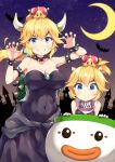 2girls absurdres bangs bare_shoulders bat bib black_dress black_nails blonde_hair blush bowsette bowsette_jr. bracelet breasts brooch claw_pose cleavage collar collarbone covered_navel crescent_moon crown dress earrings eyebrows_visible_through_hair fang_out fingernails forked_eyebrows grin hair_between_eyes halloween hands_up highres horns jewelry koopa_clown_car large_breasts long_hair looking_at_viewer mario_(series) medium_breasts miyabi_(miyabeeya) moon mother_and_daughter multiple_girls nail_polish new_super_mario_bros._u_deluxe night night_sky nintendo ponytail sharp_fingernails sharp_teeth sky smile spiked_armlet spiked_bracelet spiked_collar spiked_shell spikes star_(sky) starry_sky strapless strapless_dress teeth thick_eyebrows turtle_shell v-shaped_eyebrows