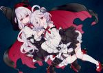 2girls ahoge azur_lane bloomers blouse boots cape commentary detached_sleeves erebus_(azur_lane) eyebrows_visible_through_hair gloves gothic_lolita hood hug lolita_fashion mary_janes multiple_girls neck_ribbon red_eyes ribbon screw_in_head shoes siblings sisters smile socks stitches striped striped_legwear terror_(azur_lane) underwear white_gloves white_hair yaekn