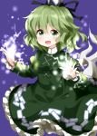 1girl :d bangs black_hat black_ribbon dress electricity ghost_tail green_dress green_eyes green_hair hair_between_eyes hat highres long_sleeves looking_at_viewer ofuda ofuda_on_clothes open_mouth petticoat purple_background ribbon ruu_(tksymkw) short_hair simple_background smile soga_no_tojiko solo tate_eboshi touhou