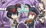 3girls =_= ? asymmetrical_hair bag black_hair black_swimsuit blue_dress blue_eyes brown_eyes clothes_writing commentary_request dated dress food framed_breasts gloves groceries hair_between_eyes hamu_koutarou hat hatsuharu_(kantai_collection) headphones highres i-13_(kantai_collection) i-14_(kantai_collection) kantai_collection long_hair multiple_girls one-piece_swimsuit paper_bag partly_fingerless_gloves peaked_cap plastic_bag ponytail purple_hair remodel_(kantai_collection) sailor_collar sailor_dress sailor_hat school_swimsuit short_hair silver_hair single_glove sitting speech_bubble sweet_potato swimsuit tsurime white_sailor_collar z1_leberecht_maass_(kantai_collection) z3_max_schultz_(kantai_collection)