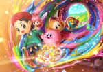 2girls 3boys adeleine animal bandaid beak beret bird black_hair card creature crystal dark_matter_(specie) fairy food glowing hal_laboratory_inc. halo hand_holding hat hoshi_no_kirby hoshi_no_kirby_64 human king_dedede kirby kirby_(series) kirby_(specie) kirby_64 nintendo official_art onigiri paint paintbrush penguin pink_hair pink_puff_ball plugg_(kirby) popsicle question_mark ribbon_(kirby) road smile star waddle_dee waddle_dee_(specie) wand wings zero_two_(kirby)