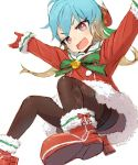 1girl alchera alternate_costume blonde_hair blue_hair buttons christmas commentary_request fang gradient_hair green_ribbon hands_up hat jumping kantai_collection long_hair looking_at_viewer multicolored_hair open_mouth pantyhose red_eyes ribbon rudder_shoes sado_(kantai_collection) santa_costume santa_hat smile solo tsurime
