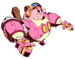 :o blue_eyes blush_stickers goggles goggles_on_head helmet highres kirby kirby:_planet_robobot kirby_(series) mecha naga_u nintendo open_mouth robobot_armor robot simple_background solo white_background