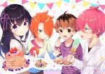 2boys 2girls :d :q ahoge bangs breasts brown_eyes candy checkerboard_cookie closed_mouth commentary_request confetti cookie cup eyebrows_visible_through_hair flower_knot food green_eyes green_shirt grin gyozanuko hair_between_eyes hair_over_one_eye hair_ribbon holding holding_food holding_lollipop holding_plate kannabe_ayumu kugui_machi kuzuryuu_yaichi lollipop multiple_boys multiple_girls open_mouth orange_hair pancake pennant pink_hair pink_ribbon plate polka_dot purple_hair purple_shirt ribbed_sweater ribbon ryuuou_no_oshigoto! sharp_teeth shirt smile stack_of_pancakes string_of_flags striped striped_shirt sweater swirl_lollipop teeth tongue tongue_out tsukiyomizaka_ryou violet_eyes white_shirt white_sweater younger