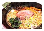 artist_name colored_pencil_(medium) food food_request meat mojacookie no_humans noodles original plate traditional_media vegetable white_background
