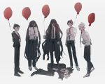 6+boys balloon black_footwear black_hair black_neckwear brown_hair danganronpa danganronpa_3 green_eyes highres hinata_hajime kamukura_izuru long_hair multiple_boys murai7771 necktie red_balloon red_eyes shirt short_hair super_danganronpa_2 white_background white_footwear white_hair white_shirt