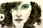 1girl bangs black_hair commentary emily_clark english_commentary eyelashes green_eyes highres lips looking_at_viewer nose original parted_lips solo traditional_media watercolor_(medium)
