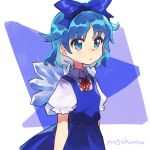 1girl artist_name blue_bow blue_dress blue_eyes blue_hair bow cirno commentary_request dress ice ice_wings looking_away mogamiya_honu neck_ribbon ribbon short_hair solo touhou upper_body white_background wings