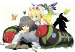 1boy 1girl ahoge ant artoria_pendragon_(caster)_(fate) artoria_pendragon_(fate) bangs black_hair blonde_hair bug butterfly caterpillar crown eyebrows_visible_through_hair fairy fate/grand_order fate_(series) flower green_eyes hair_flower hair_ornament head_on_hand highres lying moth oberon_(fate) on_stomach pirohi_(pirohi214) reading signature simple_background spoilers younger