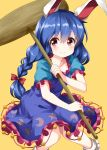 1girl animal_ears bangs blue_dress blue_hair blush bobby_socks bow breasts collarbone commentary_request crescent_print dress eyebrows_visible_through_hair feet_out_of_frame frills hair_between_eyes hair_bow highres holding holding_mallet kine long_braid long_hair looking_at_viewer mallet petticoat pink_eyes puffy_short_sleeves puffy_sleeves rabbit_ears red_bow ruu_(tksymkw) seiran_(touhou) short_sleeves simple_background small_breasts smile socks solo star star_print touhou white_legwear yellow_background