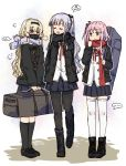3girls ak-12_(girls_frontline) alternate_costume an-94_(girls_frontline) artist_name bag blonde_hair blue_eyes blue_hair boots chinese_commentary closed_eyes commentary_request face_mask girls_frontline hair_ornament jacket mask multiple_girls pink_hair plug_(feng-yushu) scarf school_uniform shoes skirt st_ar-15_(girls_frontline) thighs