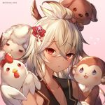 1girl animal bird blush chicken chinese_zodiac commentary_request dark_skin dog feathered_wings flying_sweatdrops fur granblue_fantasy hair_ornament horns monkey narusegawa_riko open_mouth red_eyes sheep sheep_horns twitter_username white_hair wings zooey_(granblue_fantasy)
