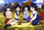 4girls absurdres backpack bag black_hair blanket blue_sky brown_eyes buttons chopsticks closed_mouth clouds container croquette eating field food fried_chicken girls_und_panzer gotou_moyoko grass grey_eyes hairband highres holding holding_chopsticks kneeling konparu_nozomi lunch lunchbox mountain multiple_girls obentou official_art omelet onigiri open_mouth outdoors overalls picnic pocket power_lines red_skirt reizei_mako sandwich shoes skirt sky smile socks sono_midoriko sweater thermos thigh-highs tomato tree triplets wang_guo_nian yellow_eyes