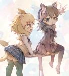 2girls animal_ears antlers aqua_eyes arm_support ass bangs black_hair black_legwear black_skirt blonde_hair blush breasts commentary contemporary dress_shirt eyebrows_visible_through_hair eyelashes fang fur_collar hair_ornament hair_tie hairclip highres kemono_friends kolshica leaning_on_table lion_(kemono_friends) lion_ears lion_tail long_sleeves looking_at_another looking_back moose_(kemono_friends) moose_ears mouse_tail multicolored multicolored_background multicolored_hair multiple_girls on_table open_mouth pantyhose plaid plaid_skirt pleated_skirt round_table school_uniform shirt shoes_removed sitting sitting_on_table skirt small_breasts standing sweater sweater_vest table tail thigh-highs white_hair white_shirt yellow_eyes zettai_ryouiki