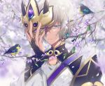 1boy bird blue_eyes dangmill fate/grand_order fate_(series) fingerless_gloves gao_changgong_(fate) gloves male_focus mask mask_removed petals short_hair silver_hair solo tree