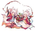 2girls :d animal_ear_fluff animal_ears bangs blush bowl character_request chopsticks cup eyebrows_visible_through_hair food grey_shirt hair_between_eyes haori holding holding_bowl holding_chopsticks japanese_clothes kai-ri-sei_million_arthur long_sleeves million_arthur_(series) multicolored_hair multiple_girls open_mouth pillow plaid plaid_pillow plate ponytail red_eyes redhead shirt simple_background smile streaked_hair striped striped_legwear tail thigh-highs toeless_legwear twintails utm white_background white_hair wide_sleeves yunomi