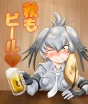 1girl alcohol bangs beer beer_mug between_breasts blonde_hair blush bodystocking breast_pocket breasts closed_mouth collared_shirt cup elbows_on_table fingerless_gloves gloves grey_hair grey_shirt hair_between_eyes hair_wings hand_on_table heart highres holding holding_cup izumi_nao japari_symbol kemono_friends large_breasts looking_at_viewer medium_hair multicolored_hair necktie necktie_between_breasts one_eye_closed pocket shirt shoebill_(kemono_friends) short_sleeves side_ponytail smile solo table upper_body white_neckwear winged_collar wooden_table wooden_wall yellow_eyes