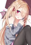 1girl absurdres bare_shoulders bat_wings blonde_hair blue_shirt blush bra braid breasts brown_background brown_legwear cardigan cleavage collarbone commentary_request fang grey_cardigan hair_over_one_eye hair_ribbon hands_clasped hands_up highres kamioka_shun'ya long_hair long_sleeves looking_at_viewer medium_breasts mini_wings navel off_shoulder open_cardigan open_clothes original own_hands_together pantyhose parted_lips pink_bra pink_skirt pleated_skirt red_ribbon red_wings ribbon shirt sitting skirt sleeves_past_wrists solo two-tone_background two_side_up underwear very_long_hair violet_eyes wings