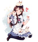 1girl ;) animal animal_on_head animal_on_lap apron bang_dream! bangs black_neckwear blue_dress bow brown_footwear brown_hair bunny_on_head bunny_on_shoulder clenched_hand commentary_request dew_(dltmf2266) dress frilled_apron frilled_dress frills green_eyes hair_bow hair_ornament hair_ribbon hairband hanazono_tae hand_up heart long_hair navy_blue_legwear neck_ribbon on_head one_eye_closed pantyhose petting rabbit ribbon shoes sitting smile solo sparkle striped vertical-striped_dress vertical_stripes vial white_apron wrist_cuffs x_hair_ornament yellow_ribbon