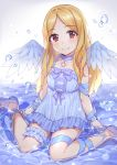 1girl bangs bare_shoulders blonde_hair blue_choker blue_dress blue_footwear blue_ribbon blue_wings blush bubble chobi_(penguin_paradise) choker closed_mouth collarbone commentary_request dress eyebrows_visible_through_hair feathered_wings forehead frilled_dress frills head_tilt high_heels highres idolmaster idolmaster_cinderella_girls long_hair mini_wings mochizuki_hijiri parted_bangs red_eyes ribbon shallow_water shoes sitting sleeveless sleeveless_dress smile solo star very_long_hair wariza wings