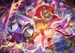 battle bow bowtie cape clash coat electricity flaming_weapon flying_kick fur_coat galacta_knight galaxia_(sword) hammer hat headband kicking king_dedede kirby kirby:_star_allies kirby_(series) lack lance marx mask meta_knight nintendo official_art open_mouth polearm red_coat red_eyes serious shield sword tongue tongue_out weapon wings yellow_eyes