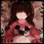 1girl braid brown_hair closed_eyes commentary_request long_hair lowres madotsuki pink_shirt shirt solo sweater twin_braids twintails yume_nikki
