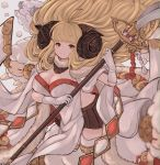 1girl anila_(granblue_fantasy) bangs blonde_hair blunt_bangs breasts brown_skirt cleavage closed_mouth draph eyebrows_visible_through_hair gloves granblue_fantasy highres holding_lance horns lance large_breasts long_hair looking_at_viewer polearm rice_tea sheep sheep_horns short_eyebrows skirt smile solo thick_eyebrows weapon white_gloves yellow_eyes