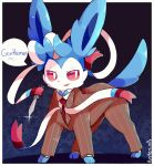 >:) alternate_color artist_name blue_background blue_fur border bow business_suit cosplay creatures_(company) english formal game_freak gen_6_pokemon knife lapel looking_to_the_side necktie nintendo pinstripe_pattern pinstripe_suit pokemon pokemon_(creature) prehensile_ribbon purpleninfy red_eyes red_sclera red_suit ribbon shiny_pokemon speech_bubble striped suit switchblade sylveon team_fortress_2 the_spy the_spy_(cosplay) white_border