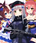 3girls :d :o absurdres animal_ear_fluff animal_ears assault_rifle black_gloves blue_eyes blue_kimono blue_legwear blush breasts brown_eyes brown_hair character_name cleavage commentary crossover double_v english_commentary epaulettes facial_mark fate/extra fate_(series) fox_ears girls_frontline gloves green_eyes gun heckler_&_koch highres hk416 hk416_(girls_frontline) holding holding_gun holding_weapon horse_ears jacket japanese_clothes kimono large_breasts long_hair long_sleeves multicolored_hair multiple_crossover multiple_girls name_tag obi object_namesake ohshit open_mouth parted_lips pink_hair pleated_skirt purple_jacket rifle sash silver_hair simple_background skirt small_breasts smile strapless streaked_hair tamamo_(fate)_(all) tamamo_no_mae_(fate) thigh-highs tokai_teio umamusume v very_long_hair weapon white_background white_gloves white_hair white_jacket white_skirt