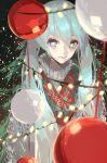 1girl absurdres aqua_hair bangs blue_eyes christmas christmas_lights christmas_ornaments christmas_tree grey_sweater hatsune_miku highres long_hair looking_at_viewer ornament rsef shadow smile solo sweater twintails upper_body vocaloid