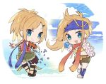 2girls :3 :d beads bikini_top blonde_hair blue_eyes boots bow braid chibi clouds dual_persona eyebrows_visible_through_hair final_fantasy final_fantasy_x final_fantasy_x-2 full_body gears green_shorts hair_beads hair_ornament hairclip kawasumi_(pixiv326156) long_hair looking_at_viewer motion_lines multiple_girls musical_note open_mouth pouch red_scarf rikku scarf screw shorts smile spring_(object) v-shaped_eyebrows white_bow yellow_bikini_top