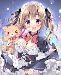 >_< 1girl :d apron bangs between_breasts black_capelet black_dress black_ribbon blue_panties blush bow bowtie box breasts brown_hair capelet commentary_request dress dress_lift frills gift gift_box hair_ribbon holding holding_stuffed_animal long_hair long_sleeves looking_at_viewer maid maid_headdress medium_breasts melon_hair_ornament open_mouth original pan_(mimi) panties red_neckwear ribbon smile solo stuffed_animal stuffed_toy teddy_bear twintails underwear violet_eyes waist_apron white_apron
