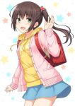 1girl :d backpack bag bangs blue_skirt blush breasts brown_hair clothes_writing commentary_request drawstring eyebrows_visible_through_hair food_themed_hair_ornament green_eyes hair_between_eyes hair_ornament hair_tie hood hood_down hoodie jacket long_sleeves nakamura_sumikage open_clothes open_jacket open_mouth original pink_jacket randoseru side_ponytail sidelocks simple_background skirt sleeves_past_wrists small_breasts smile solo star starry_background strawberry_hair_ornament white_background yellow_hoodie