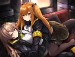 2girls bangs black_legwear black_skirt blush breasts brown_eyes brown_hair couch eyebrows_visible_through_hair fingerless_gloves girls_frontline gloves hair_between_eyes hair_ornament hairclip highres hood hood_down hooded_jacket indoors jacket long_hair looking_at_viewer lying lying_on_another medium_breasts monitor multiple_girls neck_ribbon one_side_up orange_hair pantyhose pleated_skirt ribbon ryara_vivi scar scar_across_eye scarf shirt sidelocks skirt small_breasts smile straddling thigh_strap twintails ump45_(girls_frontline) ump9_(girls_frontline) white_shirt yellow_eyes