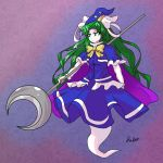 1girl abstract_background absurdres blue_capelet blue_hat blue_shirt blue_skirt bow bowtie cape capelet crescent_moon dabogon eyebrows_visible_through_hair full_body ghost_tail green_eyes green_hair hair_intakes hat hat_ribbon highres long_hair mima moon purple_background purple_cape ribbon shirt signature skirt skirt_set solo staff sun_print touhou white_ribbon wizard_hat yellow_bow yellow_neckwear