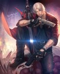 1boy beard blood blood_on_face boots copyright_name dante_(devil_may_cry) dated devil_may_cry devil_may_cry_5 ebony_&_ivory facial_hair grey_hair gun holding holding_gun holding_weapon jacket kuren male_focus rebellion_(sword) red_jacket solo stubble sword weapon white_hair